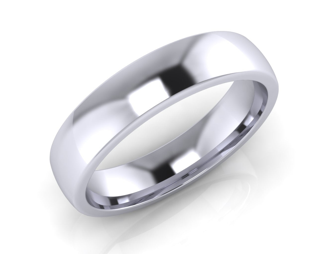 Platinum Midi-Ellipse Wedding Ring 5.0mm Size T - all ring sizes available - Andrew Scott