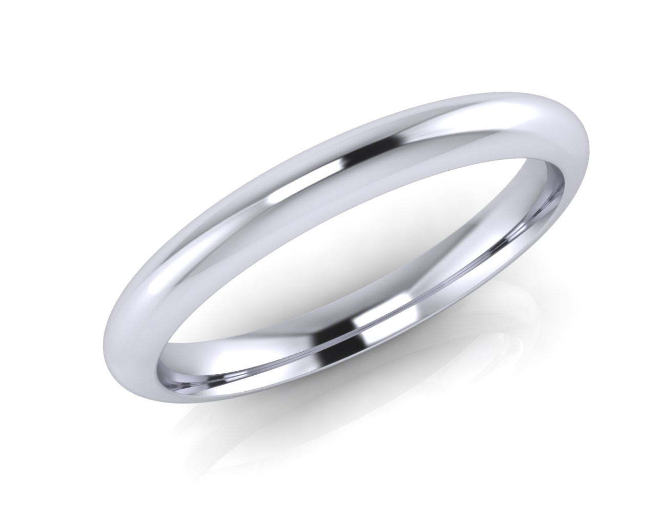 Platinum Dome-Ellipse Wedding Ring 2.5mm Size L - all ring sizes available - Andrew Scott