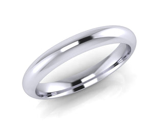 Platinum Dome-Ellipse Wedding Ring 3.0mm Size L - all ring sizes available - Andrew Scott