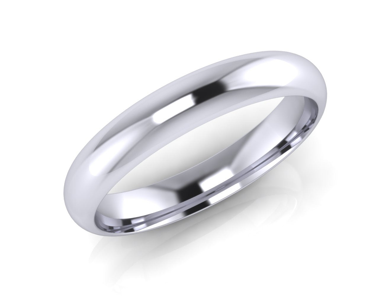 Platinum Dome-Ellipse Wedding Ring 4.0mm Size T - all ring sizes available - Andrew Scott
