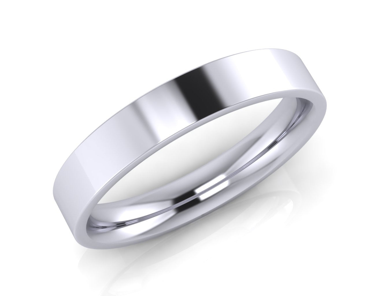 Platinum Demi-Ellipse Wedding Ring 4.0mm Size T - all ring sizes available - Andrew Scott