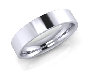 Platinum Demi-Ellipse Wedding Ring 5.0mm Size T - all ring sizes available - Andrew Scott