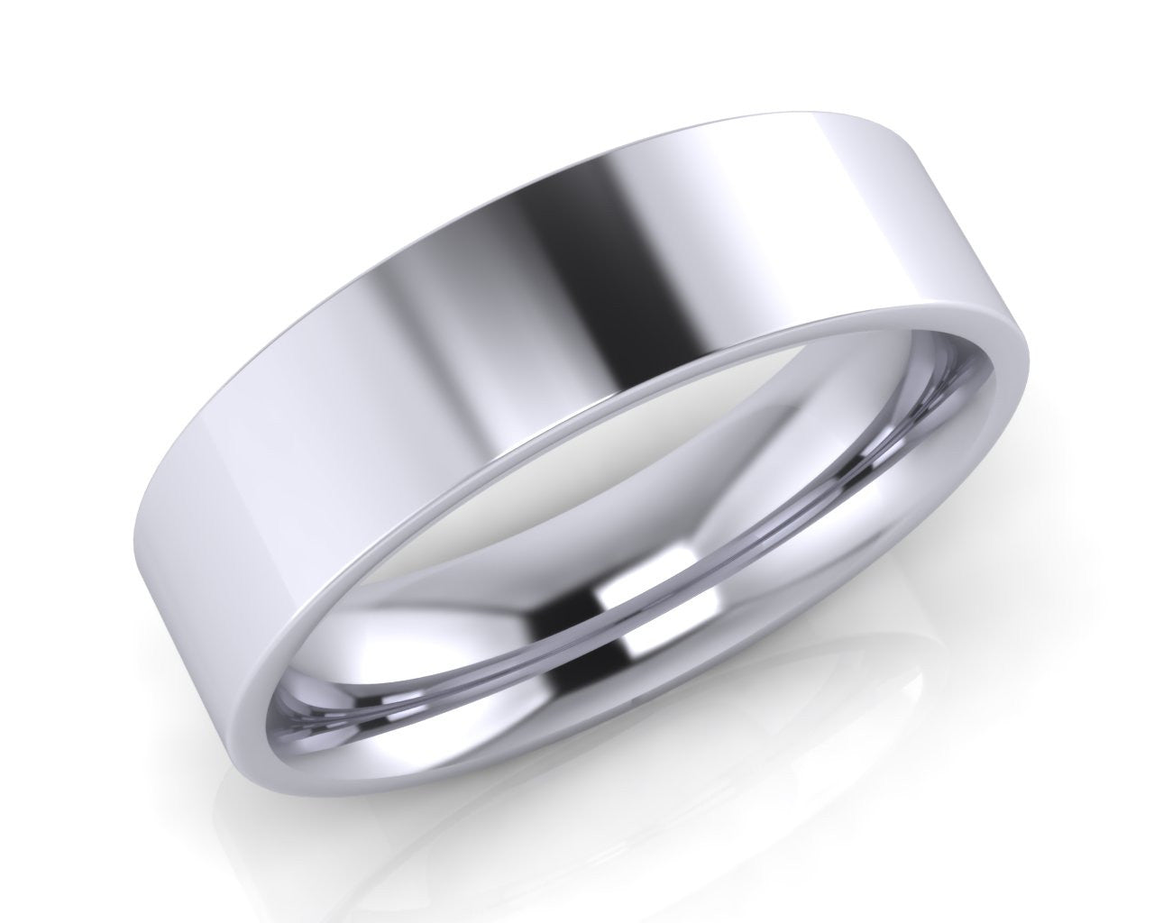 Platinum Demi-Ellipse Wedding Ring 6.0mm Size T - all ring sizes available - Andrew Scott