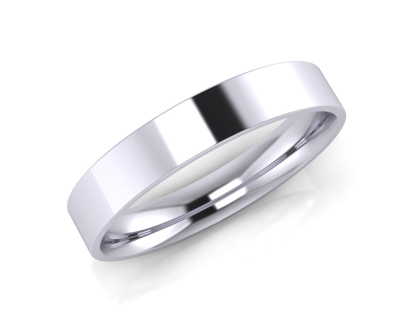 Platinum Mini Demi-Ellipse Wedding Ring 4.0mm Size T - all ring sizes available - Andrew Scott