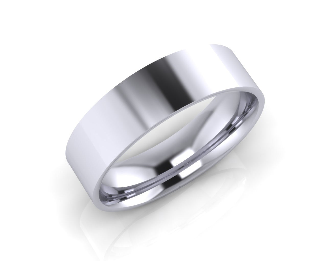 Platinum Mini Demi-Ellipse Wedding Ring 6.0mm Size T - all ring sizes available - Andrew Scott