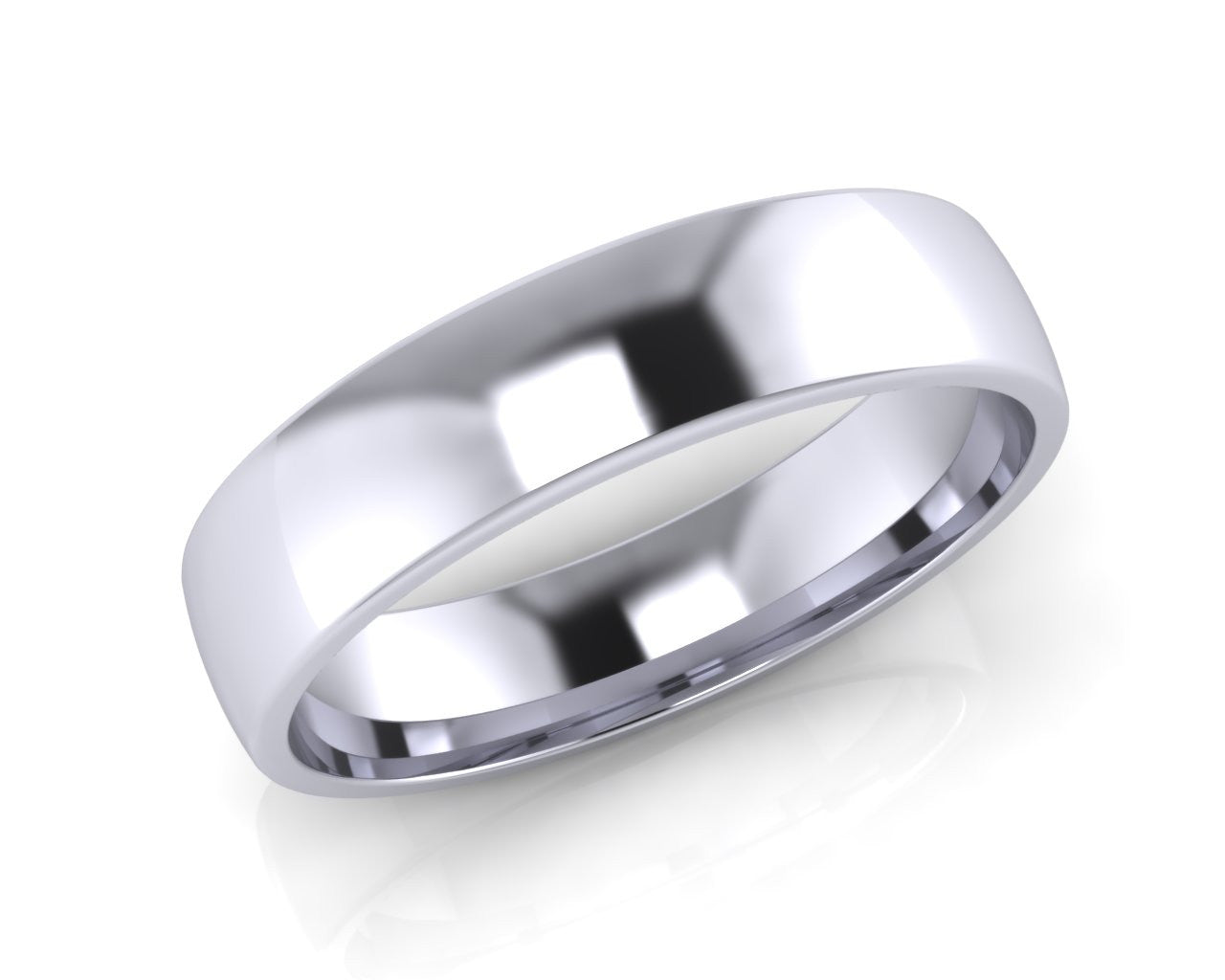 Platinum Mini-Ellipse Wedding Ring 5.0mm Size T - all ring sizes available - Andrew Scott