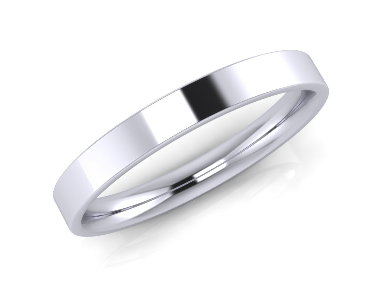 Platinum Mini Demi-Ellipse Wedding Ring 2.5mm Size L - all ring sizes available