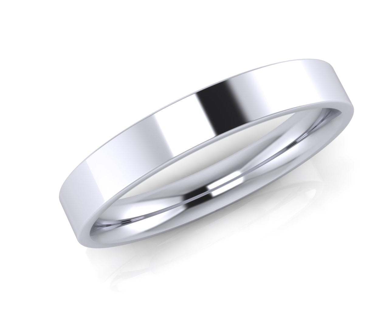 Platinum Mini Demi-Ellipse Wedding Ring 3.0mm Size L - all ring sizes available - Andrew Scott