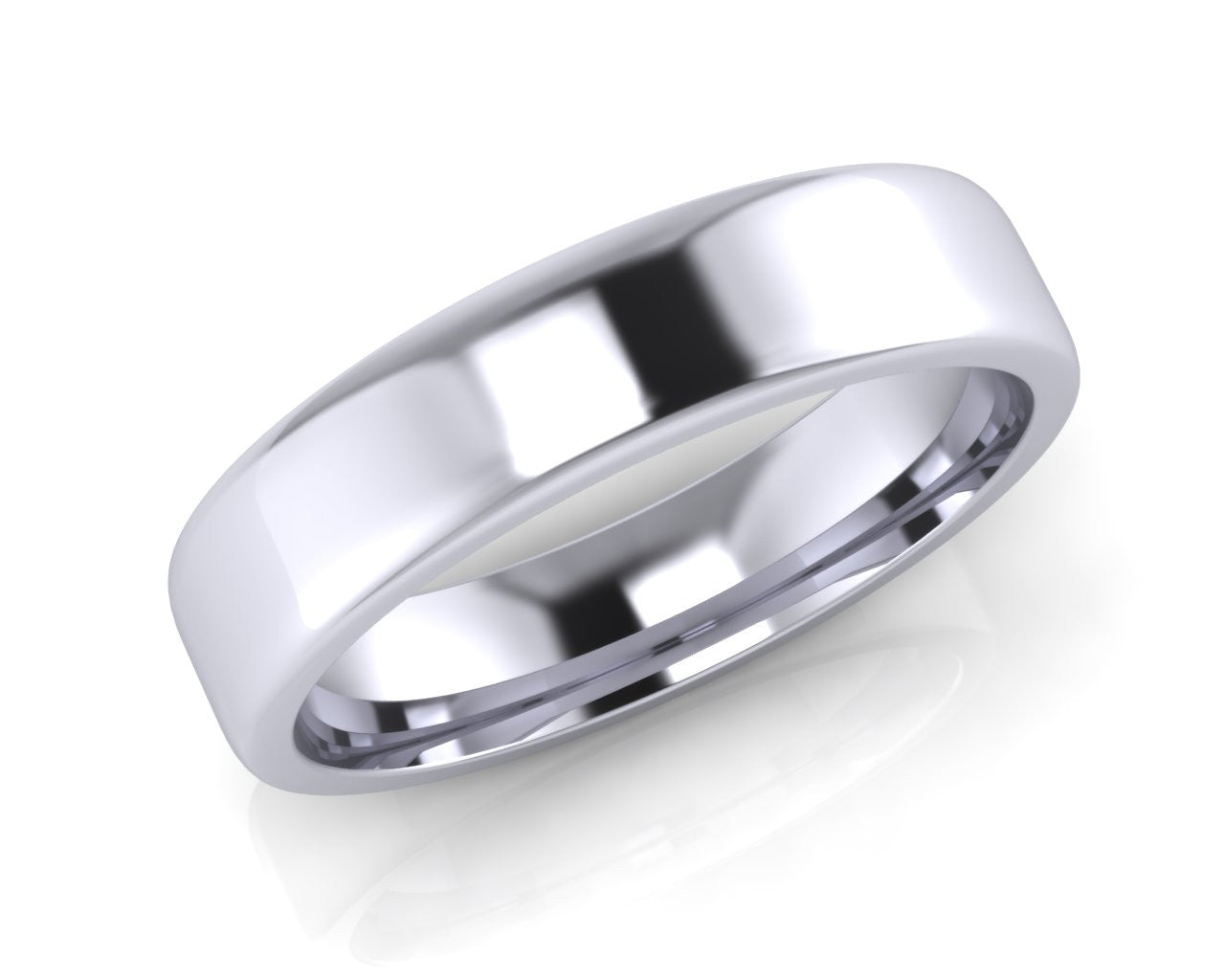 Platinum Square-Ellipse Wedding Ring 5.0mm Size T - all ring sizes available