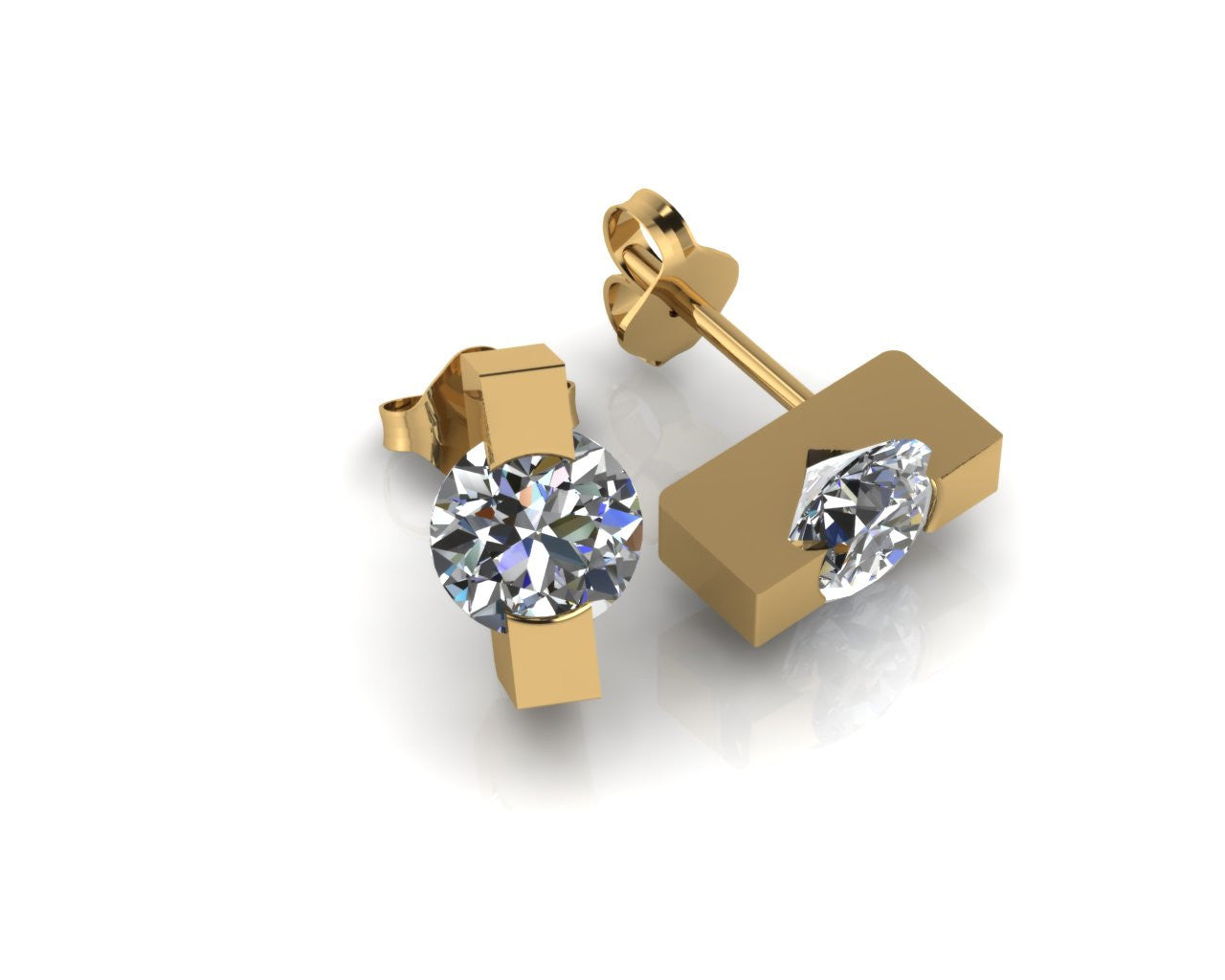 18ct Yellow Gold Trapeze Brilliant-cut Diamond Stud Earrings - Andrew Scott