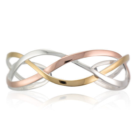 Silver, Rose & Yellow Gold Plated Interlacing Ribbon Bangle - Andrew Scott