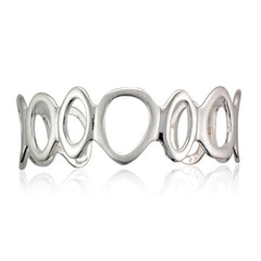 Silver Alternating Satin and Polished Finish Open Pebble Cuff Bangle