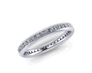 Platinum Princess-cut Diamond Ellipse Full Eternity Ring