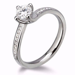 Platinum Brilliant-cut Diamond Channel Detail Ring 0.50ct D-H/VS Certed