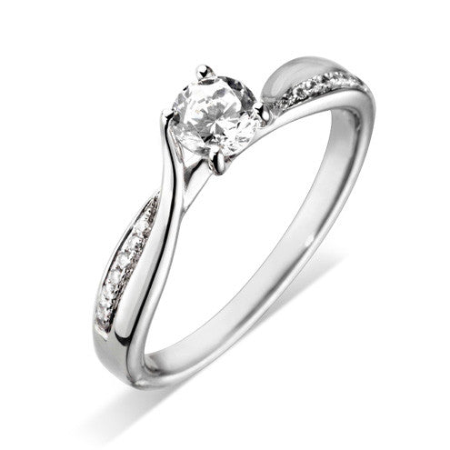 Platinum Four Claw Diamond Ring with Twist pave Diamond detail - Andrew Scott