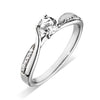 Platinum Four Claw Diamond Ring with Twist pave Diamond detail 0.30ct F/VS Certed