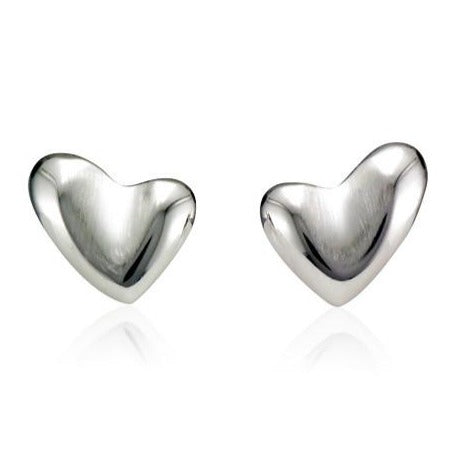 Silver Concave Asymmetric Heart Shaped Earrings