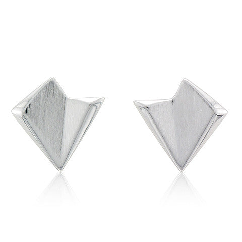 Silver Abstract Triangular Earrings