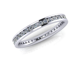 Platinum Brilliant-cut Diamond Demi-Ellipse Full Eternity Ring - Andrew Scott