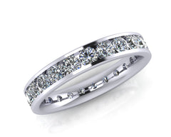 Platinum Brilliant-cut Diamond Demi-Ellipse Full Eternity Ring 1.52ct-1.65ct F/VS Certed