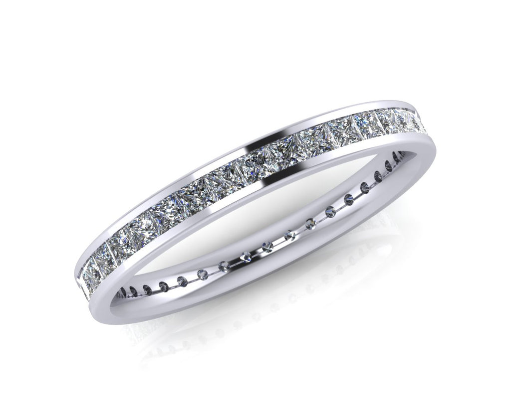 Platinum Princess-cut Diamond Demi-Ellipse Full Eternity Ring - Andrew Scott