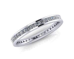 Platinum Princess-cut Diamond Demi-Ellipse Full Eternity Ring