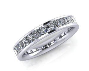 Platinum Princess-cut Demi-Ellipse Full Eternity Ring - Andrew Scott