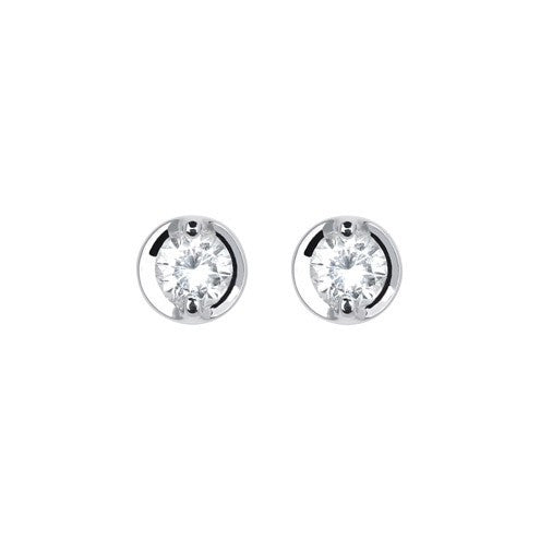 18ct White Gold Brilliant-cut Diamond Concave Stud Earrings - Andrew Scott