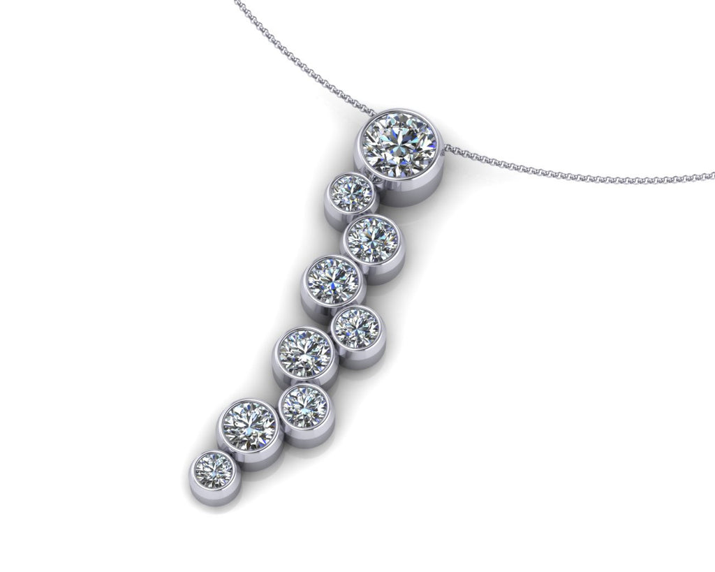 18ct White Gold Scatter Brilliant-cut Diamond Pendant & Chain - Andrew Scott