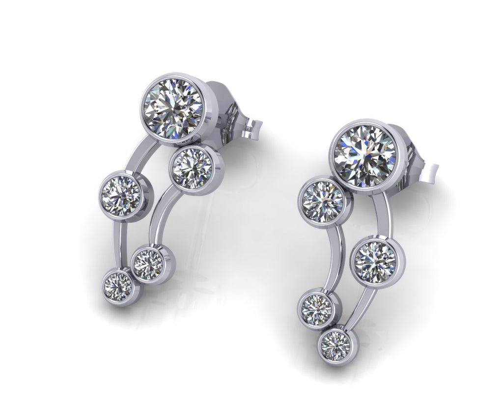 18ct White Gold Cellestial Brilliant-cut Diamond Stud Earrings - Andrew Scott