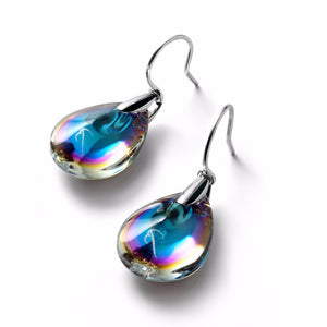 Baccarat Psydelic Blue Scaabee Crystal Silver Wire Drop Earrings - Andrew Scott