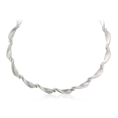 Silver Satin Finish, Polished Detail Twist Blade Link Necklace