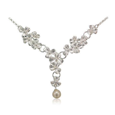 Silver Multi Petal Flower & Freshwater Pearl Drop Necklace