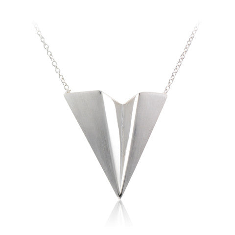 Silver Satin & Polished Dart Necklace