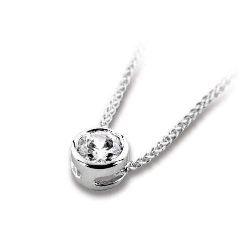 18ct White Gold Brilliant-cut Diamond Sliding Pendant & Chain - Andrew Scott