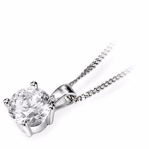 18ct White Gold Classic Brilliant-cut Diamond Pendant & Chain - Andrew Scott