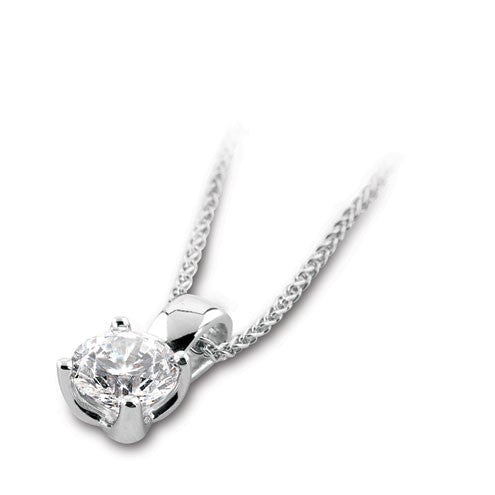 18ct White Gold Brilliant-cut Diamond Pendant & Chain - Andrew Scott