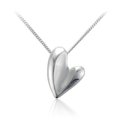 Silver Satin Finish, Polished Detail, Concave Asymmetric Heart Shaped Pendant on Fine Curb Chain