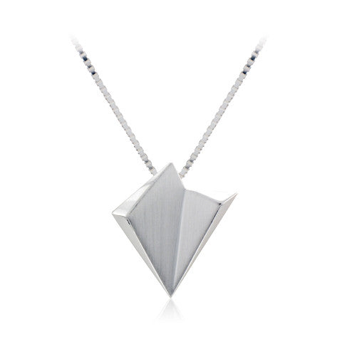 Silver Satin & Polished Detail Abstract Triangular Pendant on Venetian Box Chain