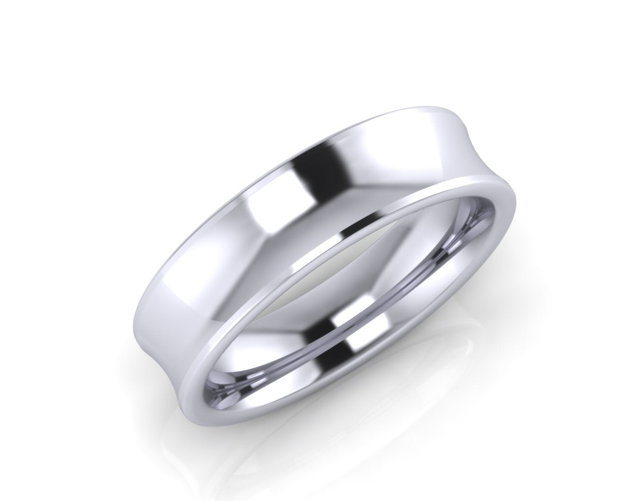 Platinum HALF TORO 6mm Concave Men's Wedding Ring