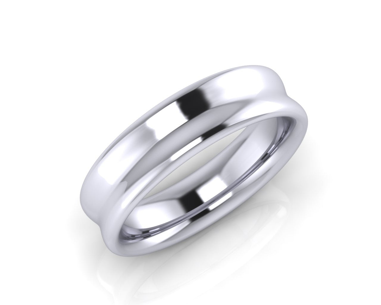 Platinum OVO 6mm Concave Men's Wedding Ring