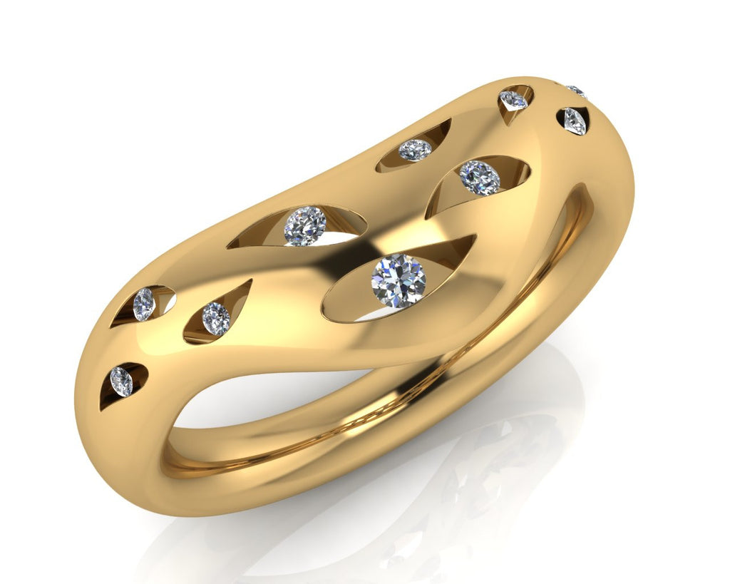 18ct Yellow Gold Diamond Open Leaf Wedding Ring - Andrew Scott