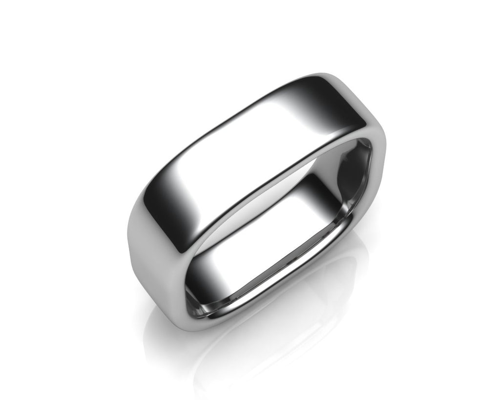 Palladium QUAD 6mm Square Shape Men's Wedding Ring - Andrew Scott