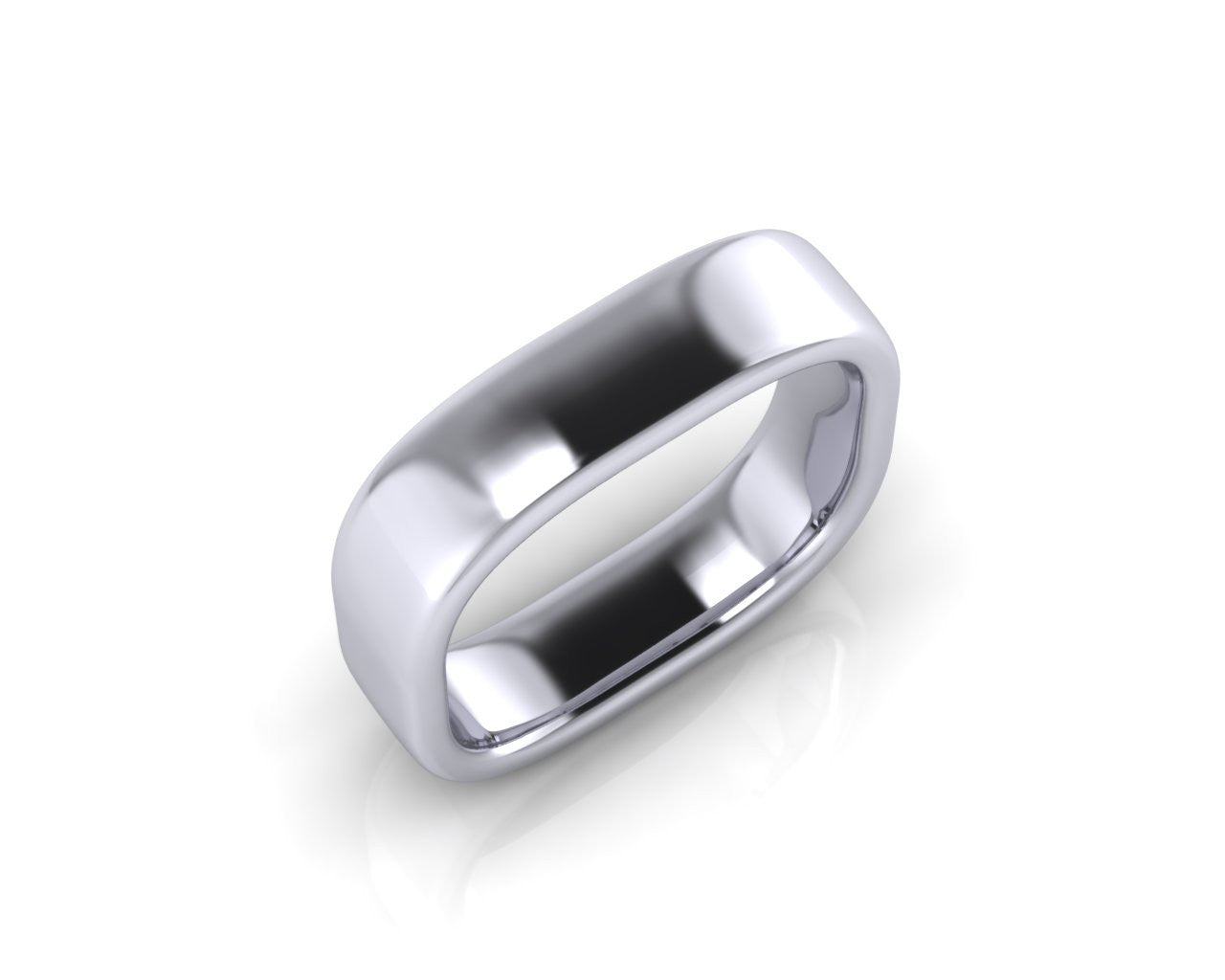 Platinum QUAD 5mm Square Shape Men's Wedding Ring
