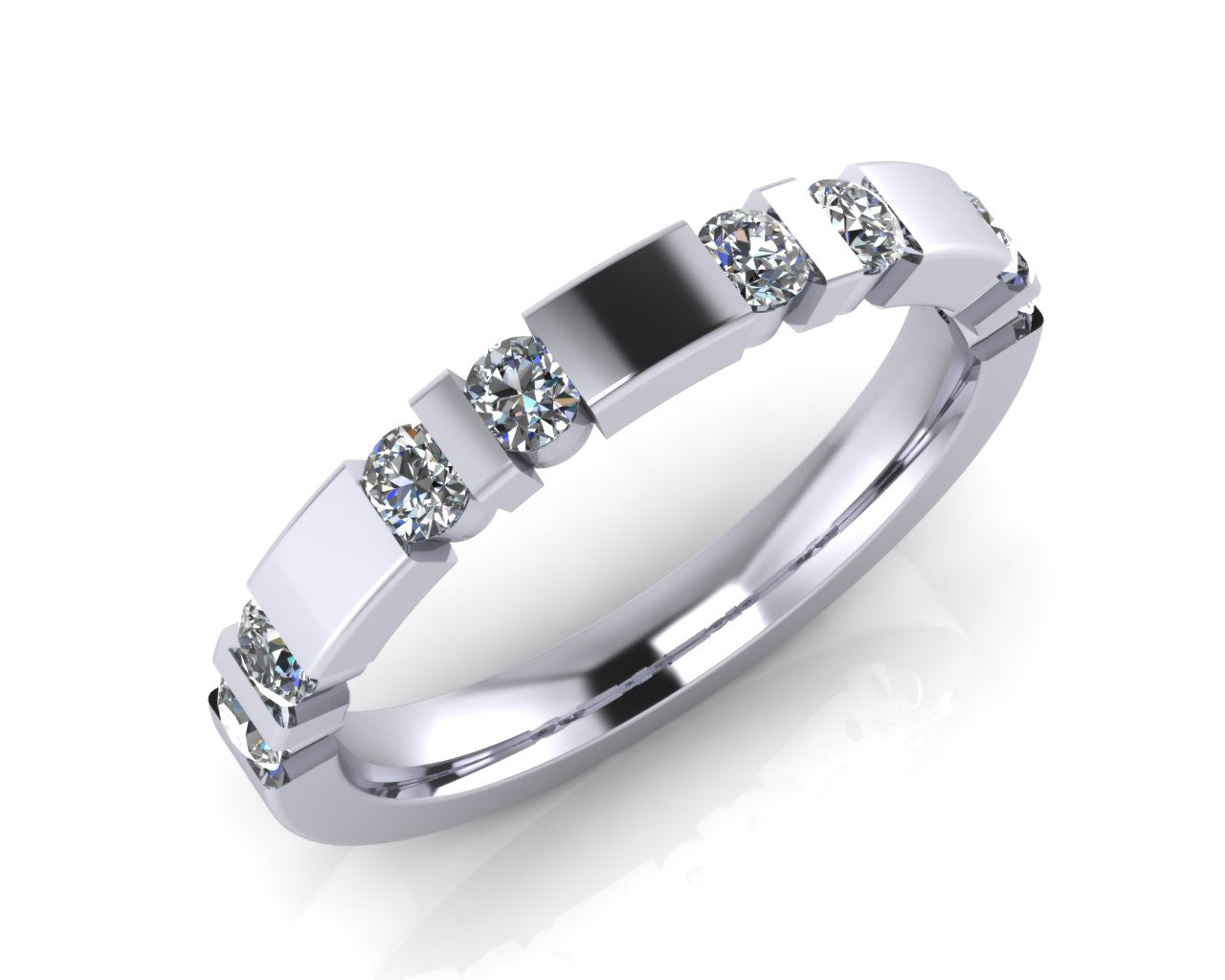 Platinum Brilliant-cut Diamond Trap-Set Ring - Andrew Scott