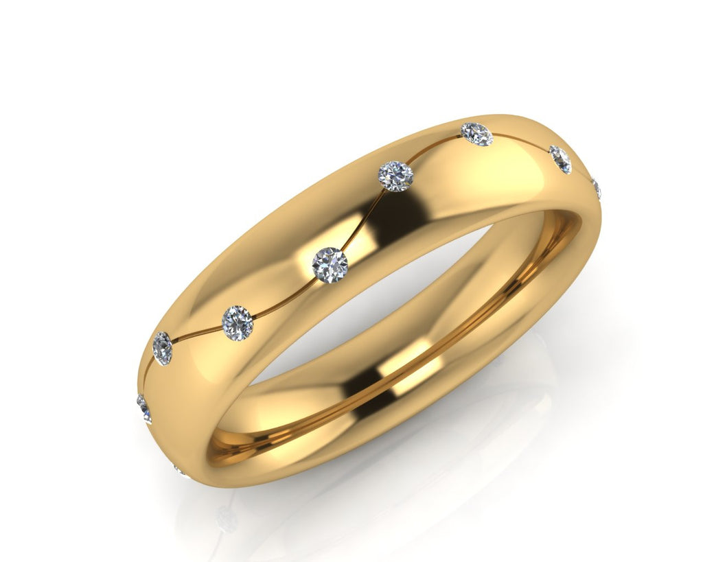 18ct Yellow Gold Diamond Wave Ellipse Wedding Ring - Andrew Scott