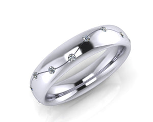 Platinum Brilliant-cut Diamond Wave Ellipse Wedding Ring - Andrew Scott
