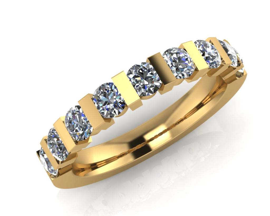18ct Yellow Gold Trap-set Diamond Half Eternity Ring - Andrew Scott