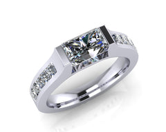 Platinum Radiant & Princess-cut Diamond RADIANT TRAPEZE Ring 2.00ct F/VS Certed