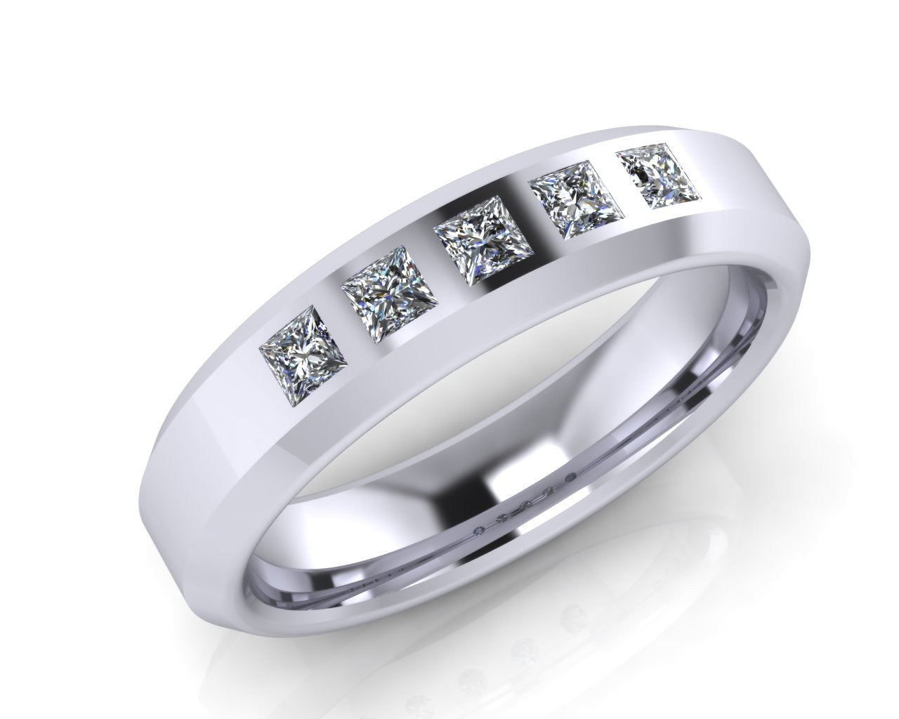 Platinum Bevel Edge Princess-cut Diamond Wedding Ring - Andrew Scott